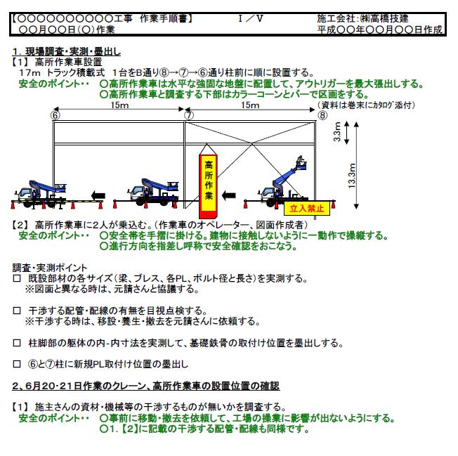 安全第一の計画書 高橋技建は安全で死亡事故ゼロ耐震補強・プラント工事|愛知 作業手順書